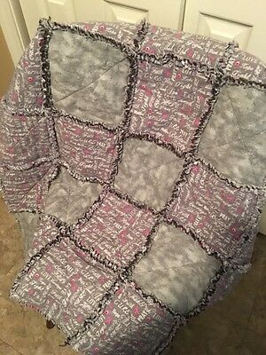 Beautiful Hand Made Pink Ribbon Flannel Rag Quilt