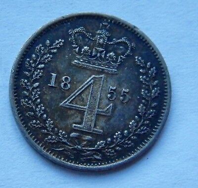 Maundy Fourpence Groat Victoria 1855