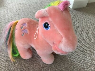 "Vintage 1980s My Little Pony Parasol 12"" plush soft toy pink horse rainbow hair"