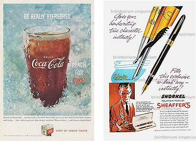 Coca-Cola Coke + Sheaffer's Snorkel Fountain Pens - Original Anzeige von 1959
