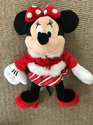 """Large Disney Store official Minnie Mouse Winter Xmas 16"""" plush soft toy teddy"""