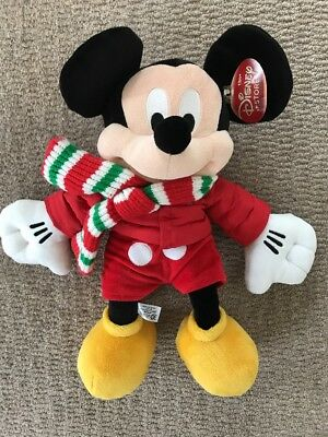 """Large Disney Store official Mickey Mouse Winter Xmas 2010 16"""" plush soft toy"""