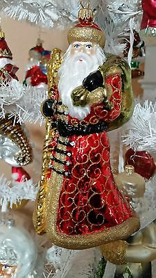 Santa Sceptr Bag Red & Gold Blown Glass Christmas Tree Ornament Poland 020069