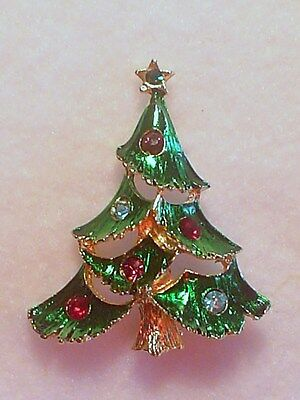 Christmas Tree Crystal Brooch Made In Czech