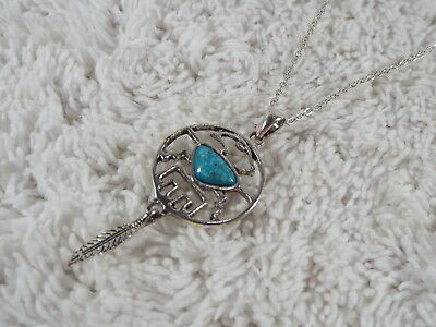 Silvertone Southwestern Thumberbird Feather Blue Stone Pendant Necklace (D18)