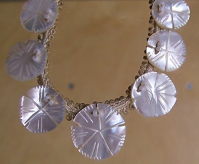 Very Pretty Antique Graduated Carved Mother Of Pearl Necklace