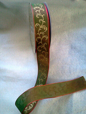 """37 Yd Roll Of Red Green Moire Gold Glitter Christmas Ribbon 1.5"""" Wide Wired"""