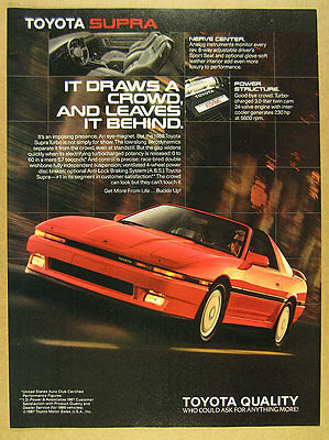 1988 Toyota Supra Turbo red car photo vintage print Ad