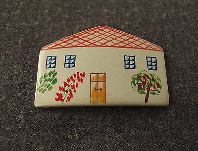 Antique 1930's Hand Painted House Off White Galalith Applique