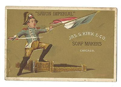 Old Trade Card Jas Kirk Soap Makers Chicago Savon Imperial Military Officer Flag