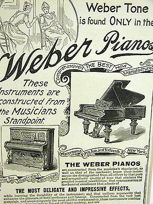 Weber GRAND Pianos 1895  5th Avenue New York City Print Advertising Matted