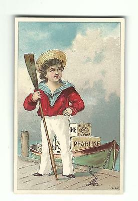 Old Trade Card James Pyle's PEARLINE Soap Sailor Boy Oar Dock Boat New York