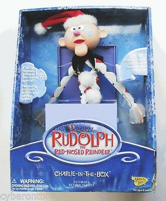Big CHARLIE IN THE BOX Toy Set Rudolph Red Nosed Reindeer Christmas Bad Box NEW