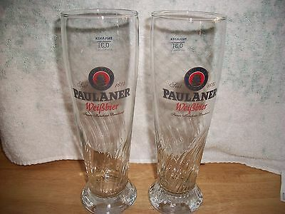 2- New Paulaner-0,3L- Swirled Base Beer Glasses