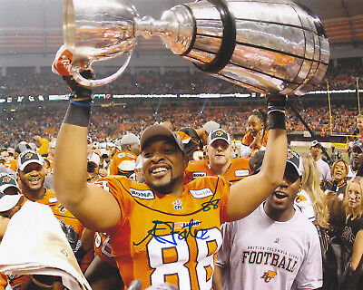 Akeem Foster Signed Autographed 2011 Bc Lions Grey Cup 8X10 Photo Exact Proof