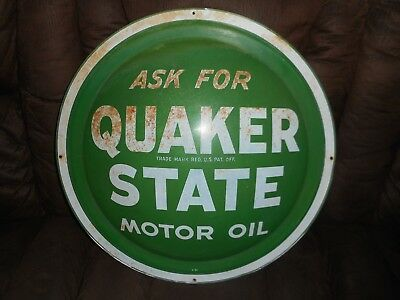 Vintage Original QUAKER STATE MOTOR OIL Convex Bubble Button Advertising SIGN