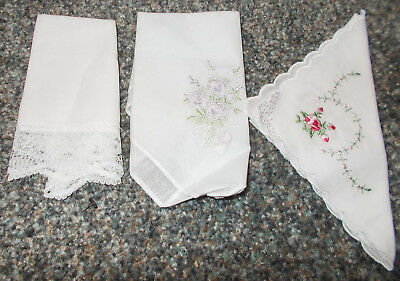Three Fine White Cotton Handkerchiefs ~ 2 with Embroidery ~ 1 with Lace ~ NEW