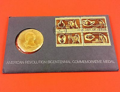 1976 USA Bicentennial First Day Cover 8 Cent Stamps with George Washington Token
