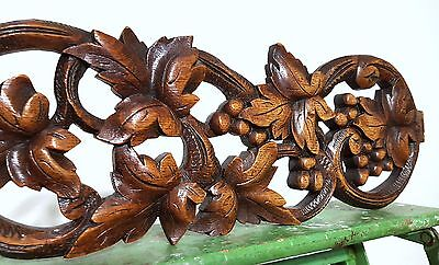CARVED WOOD PEDIMENT ANTIQUE FRENCH COUNTRY GRAPES VINE SALVAGED CARVING 19th e