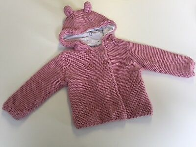 Girls * M&S * Warm Pink Jumper with cute ears - 6-9 months VGC
