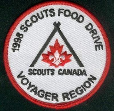 1998 Scouts Food Drive Voyager Region Canada Patch Brand New