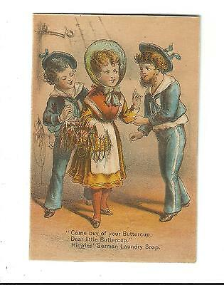 Old Trade Card Higgins German Laundry Soap Buttercup Sailors Girl