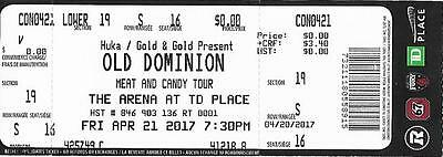 Old Dominion Td Place Ottawa Canada 21.04.2017 Used Ticket