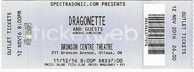 Dragonette Synthpop New Wave Electronic Ottawa Canada 11.12.2016 Unused Ticket