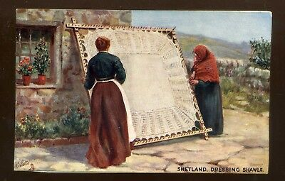 SHETLAND  Dressing Shawls  - with two women   coloured