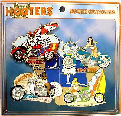 South Myrtle Beach Sc Hooters Restaurant Girl Red Motorcycle Puzzle Lapel Pin