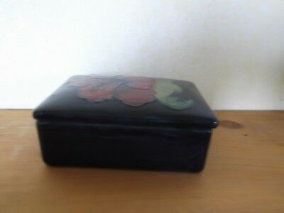 Moorcroft Hibiscus Blue Lidded Box - possibly a trinket or jewelery box