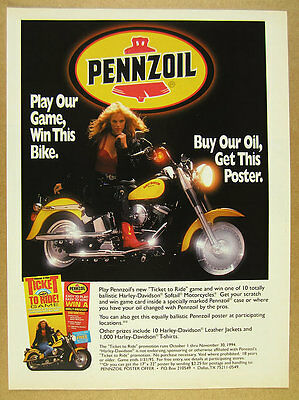 1994 pennzoil contest Harley-Davidson Softail motorcycle photo vintage print Ad