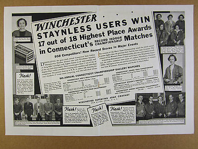 1937 Winchester Ammunition Connecticut Shooting Matches Teams photos vintage Ad