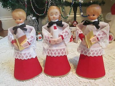 "Vintage Christmas Choir Boys/girl--7"" Tall--Tree Toppers/decorations--Rare/japan"