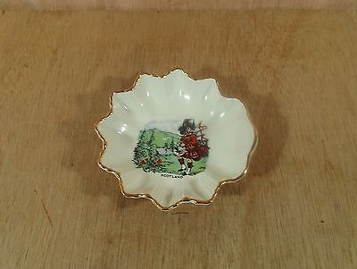 "Vintage Scottish Highland Bag Pipe Player Old Foley Candy Mint Dish 4 3/4"" D"