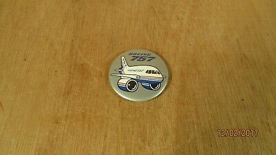 "Vintage Boeing 757 Airplane Button Plastic Face Advertising 2 1/4"" D Travel"