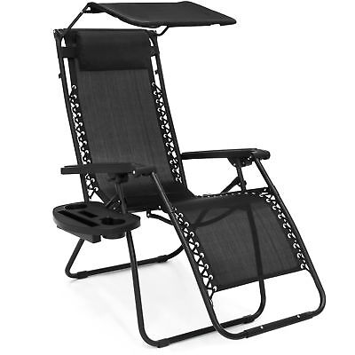 Folding Zero Gravity Recliner Lounge Chair w/  Shade & Cup Holder (Black)