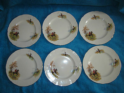 Vintage 1940's Alfred Meakin Country Life 7.75 Inch Plates Hunting Fishing Shoot