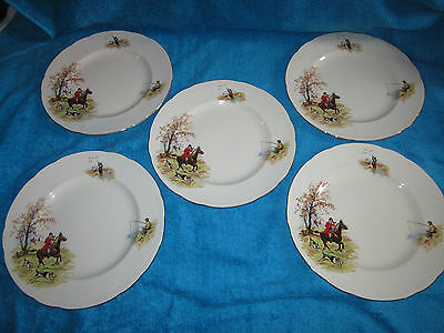 Vintage 1940's Alfred Meakin Country Life 9.75 Inch Plates Hunting Fishing Shoot