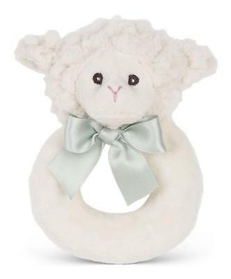 "New Bearington LAMB Plush Ring Rattle 5/"" Girl Boy Baby Shower Gift Baptism Toy"