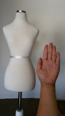 Small Dress Form Mannequin for Jewelry Necklace Display with White Wooden Base