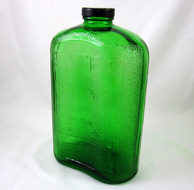 Green Refrigerator Water Bottle Vintage Antique 1930s Owens Illinois Glass 2 Qt
