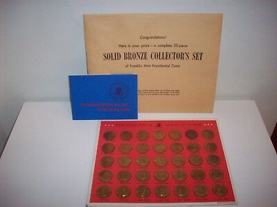 Solid Bronze Collector Set Franklin Mint Presidential Coins 35 pc with Profiles