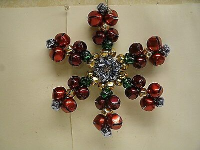 "10"" Christmas Jingle Bell Snowflake Wreath Holiday decor"