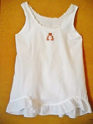 Vintage Handmade White Cotton Full Slip W/hand Embroidery For Toddler Girl