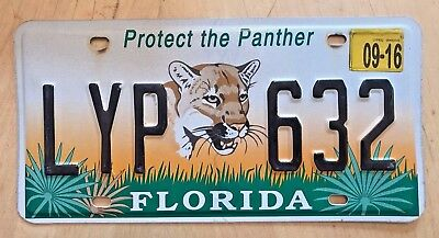 """Fla Graphic  Auto License Plate """" Lyp 632 """" Fl Protect The Panther Wildlife"""