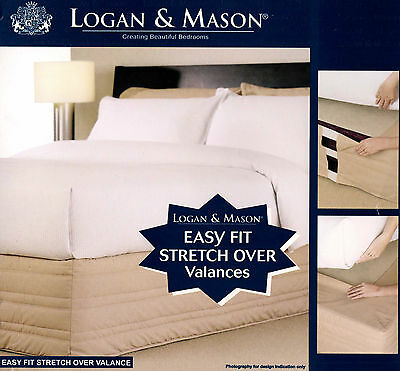 Logan & Mason Black 250 Tc Quilted Easy Fit Stretch Over Valance Single New