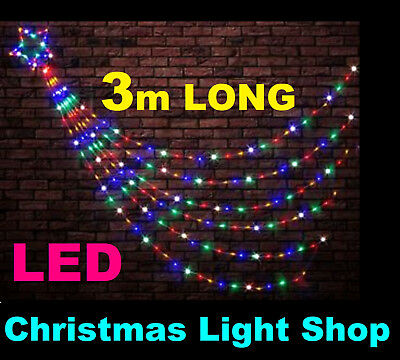 200 LED MULTICOLOUR Waterfall Star 3m Strands Shooting Outdoor Christmas Lights