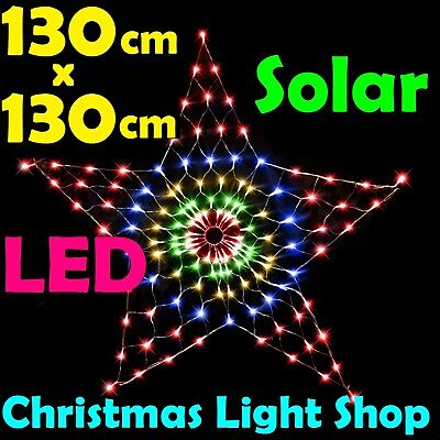 Solar LED STAR Net 1.3m MULTICOLOUR Outdoor Christmas Tree MULTI Garden Lights
