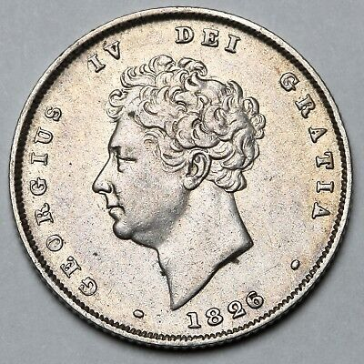 1826 King George Iiii Iv Great Britain Silver Shilling Coin